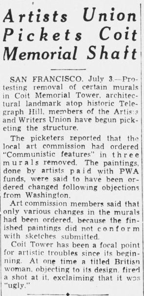 The newly-formed Artists and Writers Union picketed the Tower in 1934 to protest the removal of communist references within some of the murals, claiming that the act was censorship of free speech.