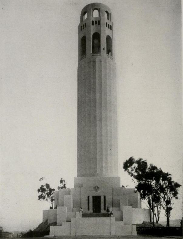 A 1933 photograph of then brand-new Coit Tower.