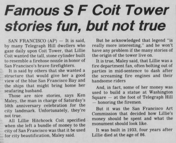 A 1983 article in the Palm Springs Desert Sun newspaper highlighting some of the myths that abound regarding Coit Tower.