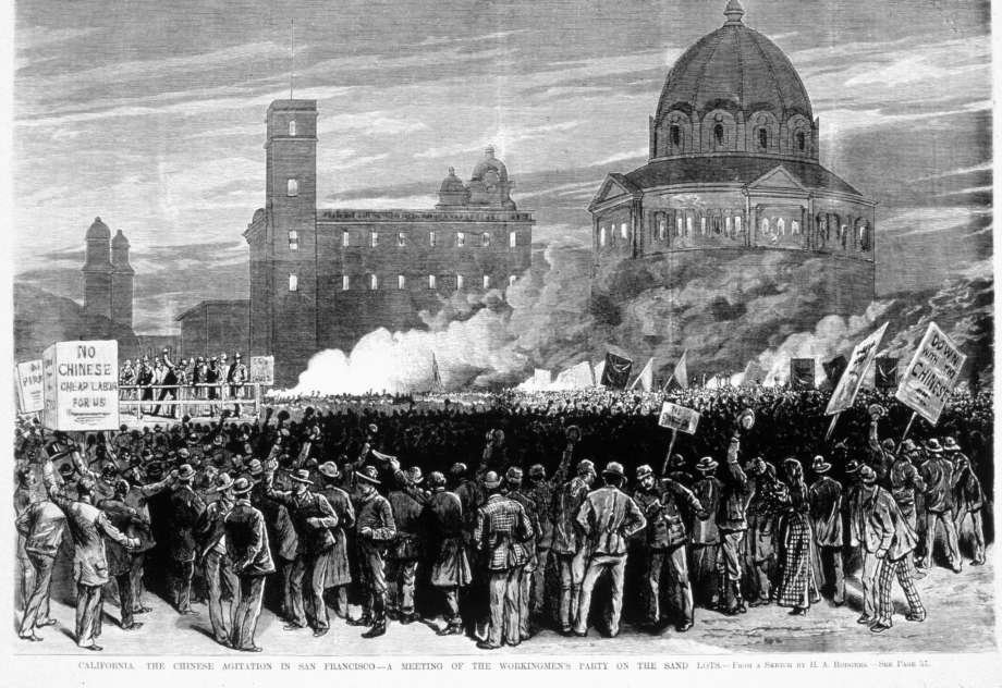 "A contemporary illustration shows a mob of discontented laborers rallying on the ""sand lot"" near City Hall. A gathering such as this was incited to riot in July 1877."