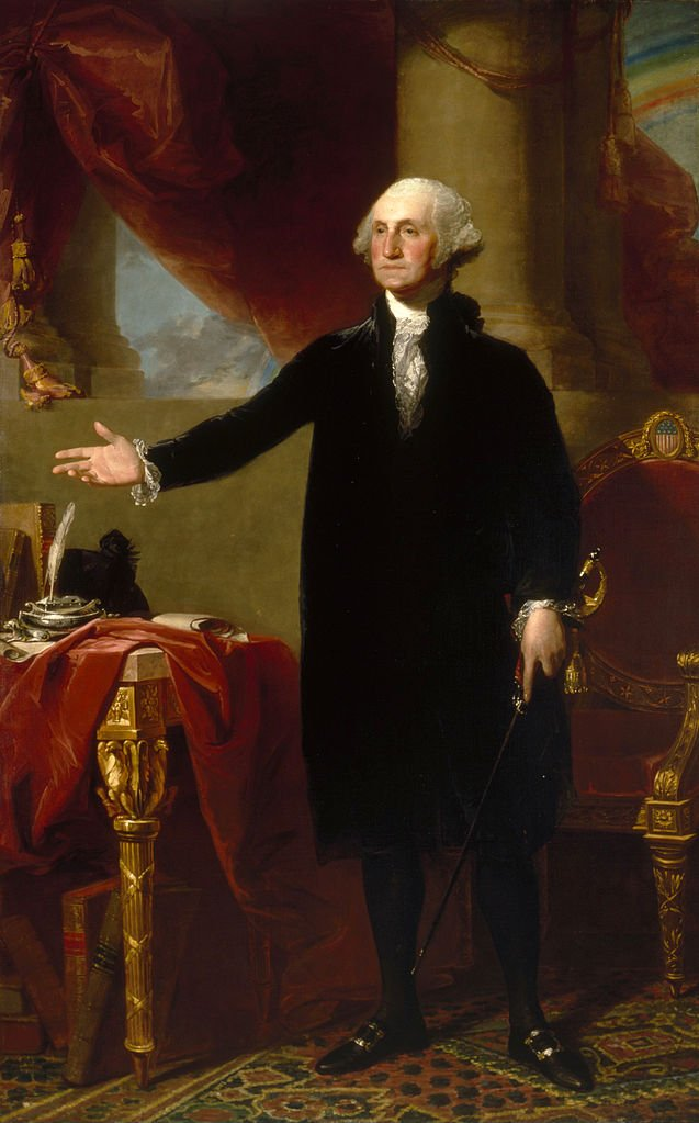 Gilbert Stuart's portrait of George Washington, exactly as we see him on the dollar bill. This portrait hangs in the Old State House, as it has done since its completion in 1796 (the same year the State House itself was completed).