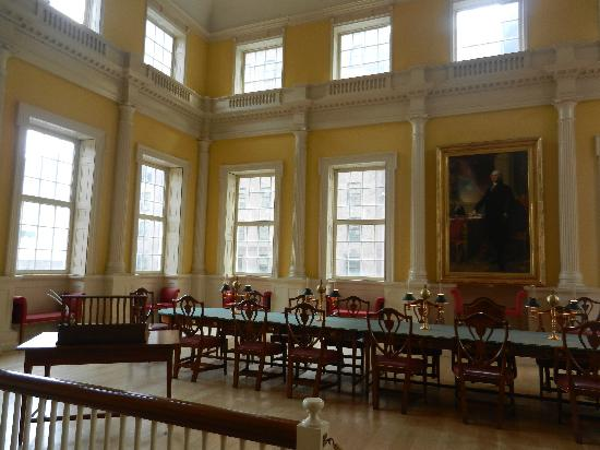The Senate Chamber at Connecticut's Old State House. Directly adjacent to the Senate, across the hall, is the House of Representatives.