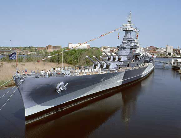 The fastest battleship in the fleet before the outbreak of World War II, the North Carolina became the most-highly decorated American battleship in the war. The ship is open for tours daily and serves as a floating military museum.