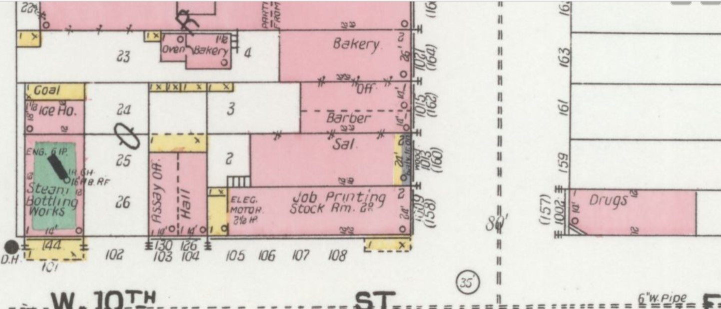 "1904 Sanborn map, Saloon (""Sal."") at Main Street Furnishings Bldg, 2nd building N of 10th St. (Sanborn Map Co. p. 4)"