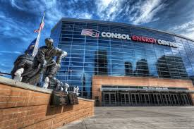 Picture of the Mario Lemieux Statue in front of the Consol Energy Center in Pittsburgh, PA