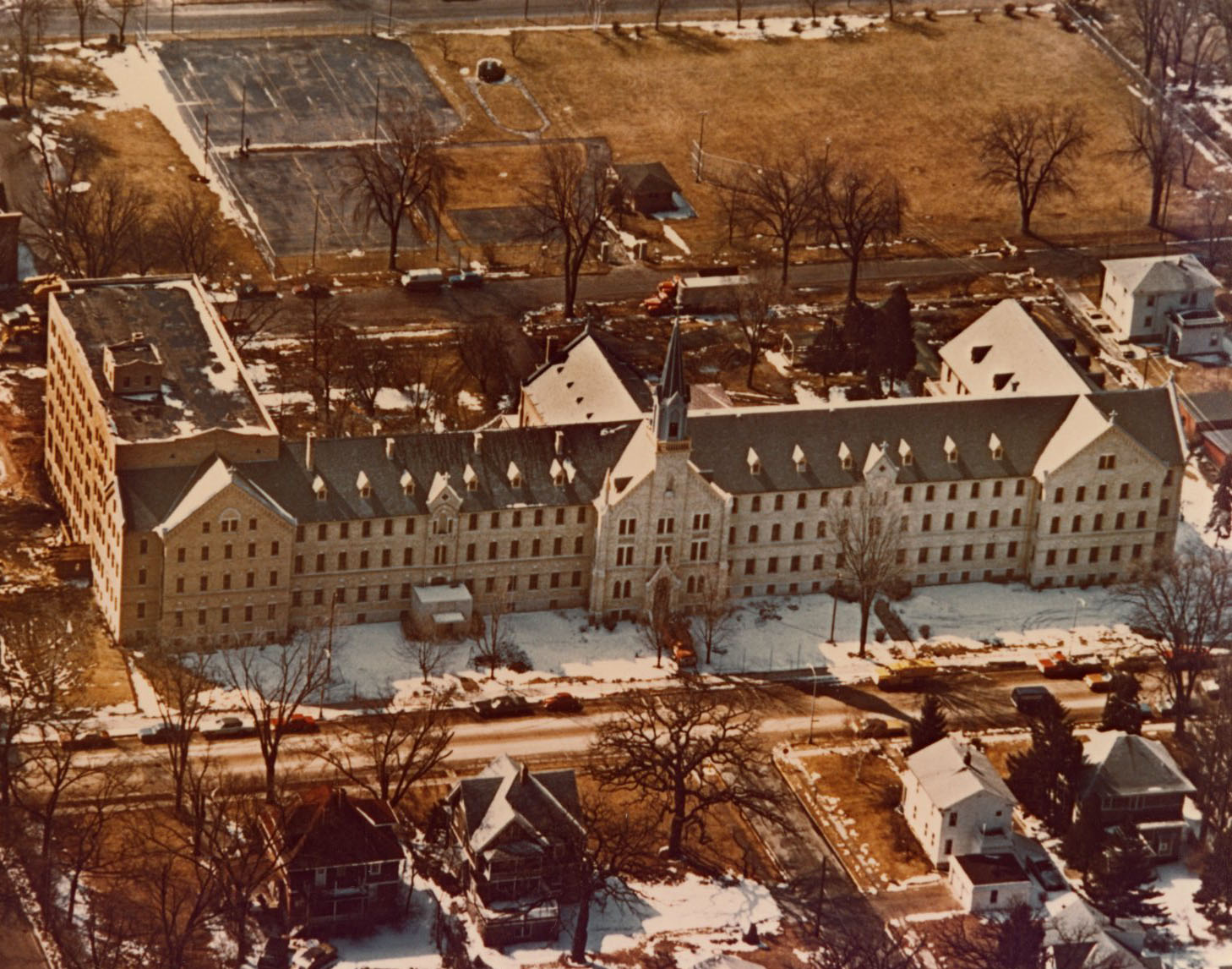Aerial view of the motherhouse, c. 1975.