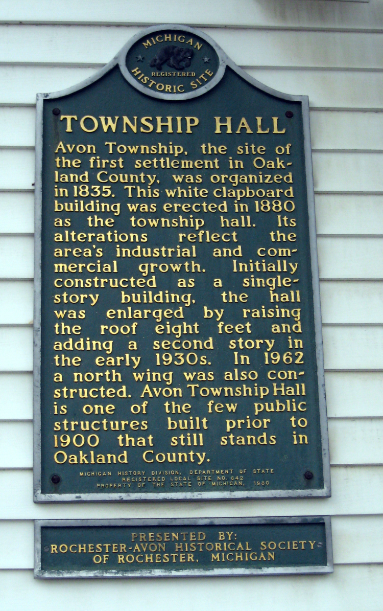 Michigan Historical Marker, Avon Township Hall