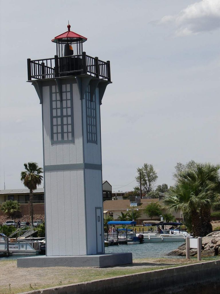 All that remains of the lighthouse is the light tower, which is now located in the Woodley Island Marina.
