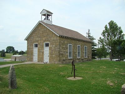 This one-room schoolhouse is now located on the Emporia State campus