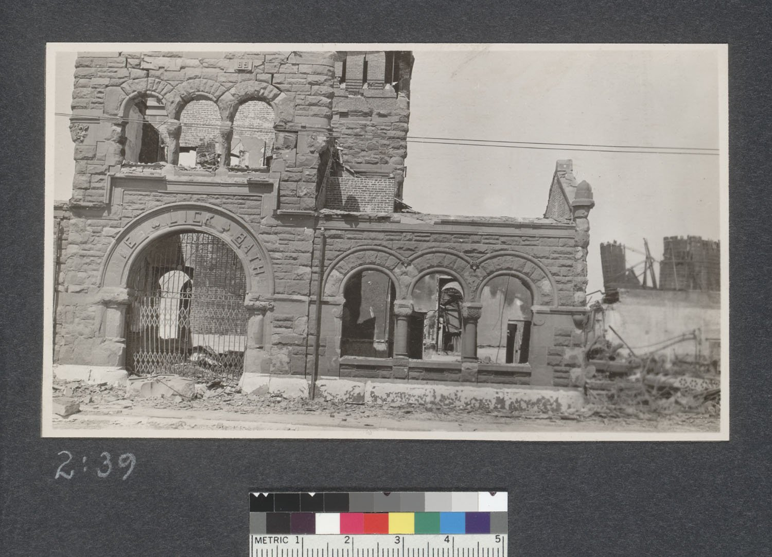 The ruins of the Baths shortly after the earthquake (UC Berkeley, Bancroft Library).