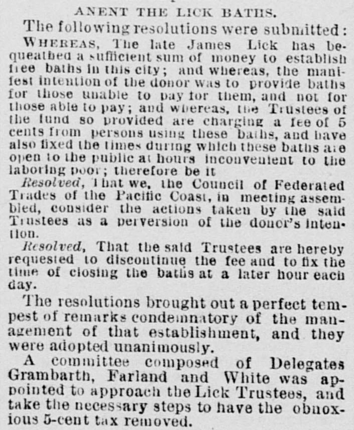 "Public disapproval of the ""price hike"" at the Baths was evident a few days before the position was made permanent, when a resolution from the Federated Trades council condemned the choice."