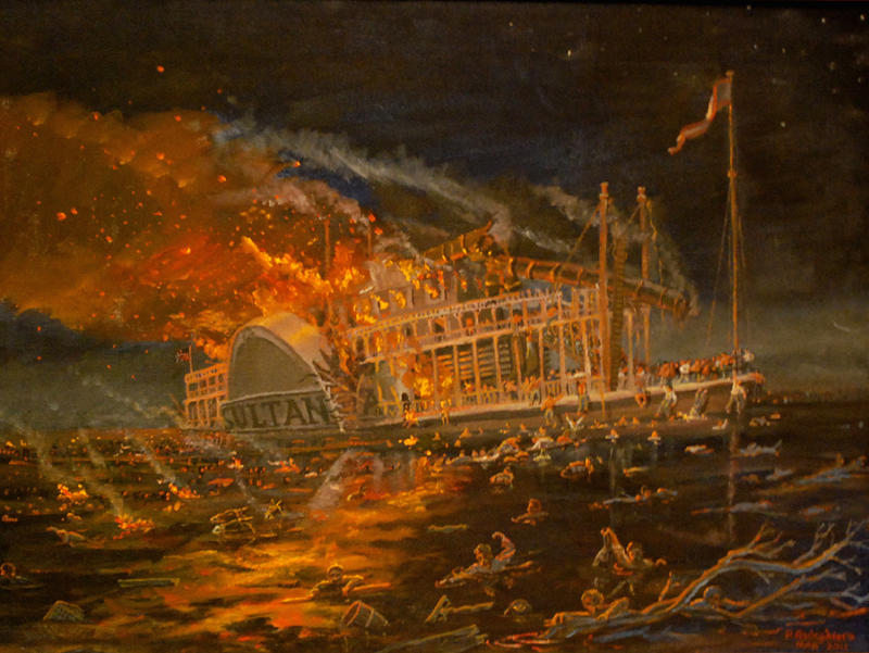 Painting depicting the Sultana disaster.