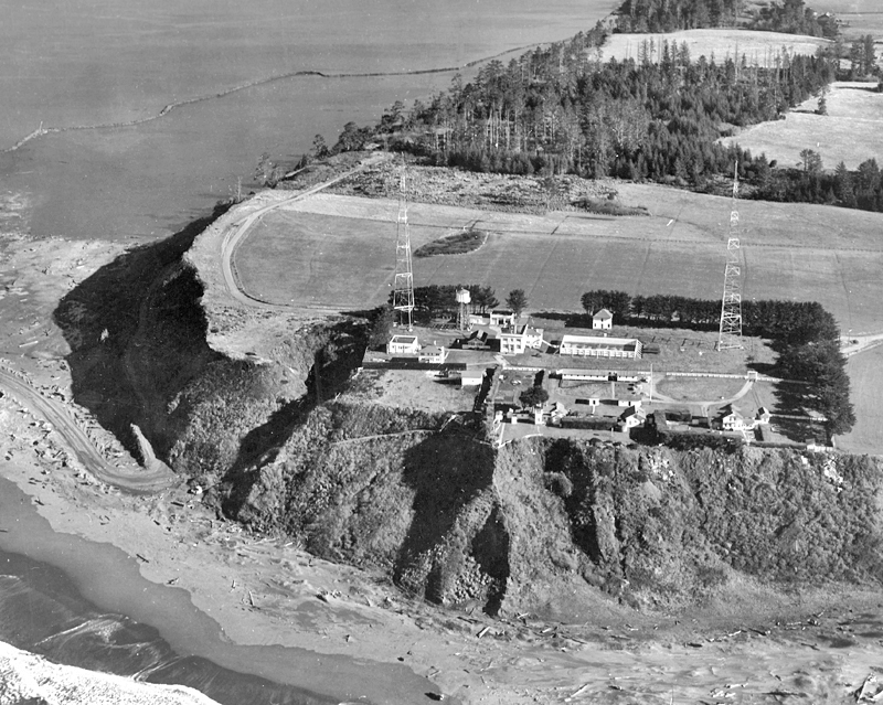 Aerial view from 1944 showing how high the station was, the radio towers, and the Coast Guard structures.