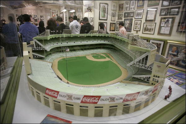 Baseball displays at the Sports Museum of Los Angeles