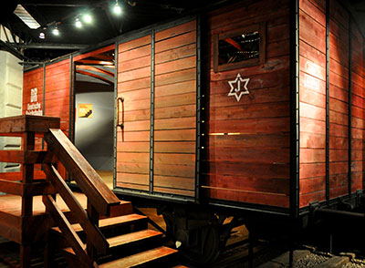 An example of a railway car that was used to house the Jewish people on their way to the camps.