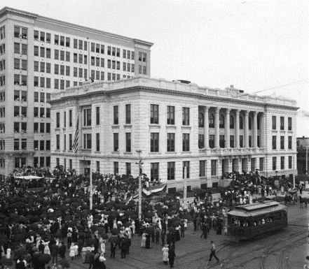 Between 1914 and the construction of the current facility, the museum and archives were housed downtown in Memorial Hall.