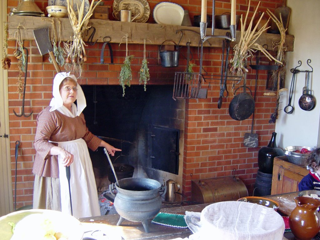 One of the displays within the home shows how women baked bread and operated within the large kitchen.