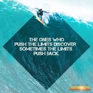 A photo of Jay Moriarty surfing Mavericks with a quote from Moriarty.