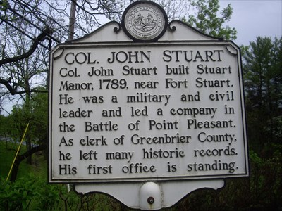 Historical marker near Stuarts home.