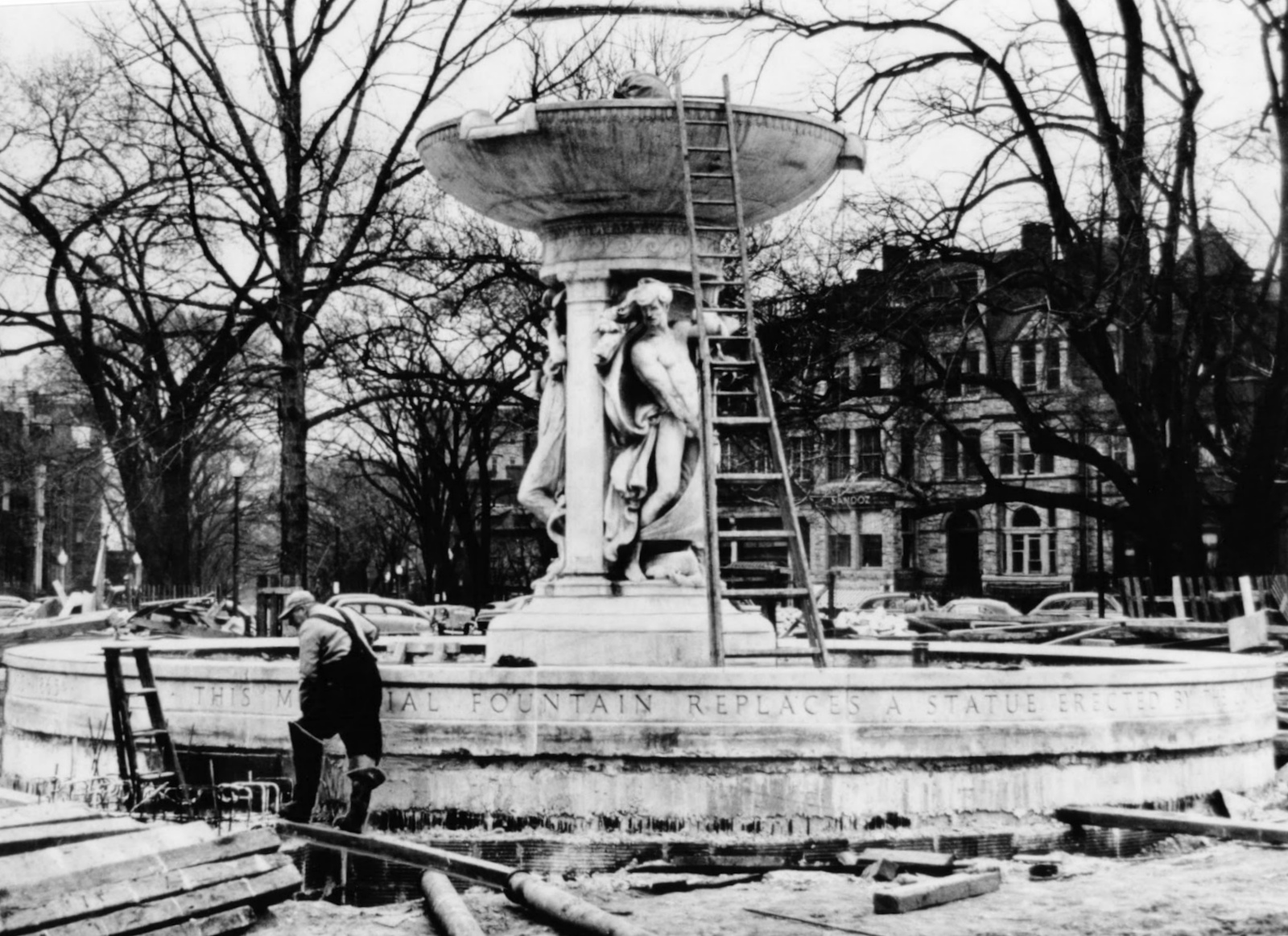 Building, Pedestal, Tree, Statue