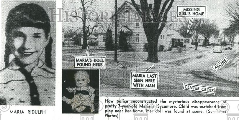 Historic newspaper article following the kidnapping of Maria Ridulph