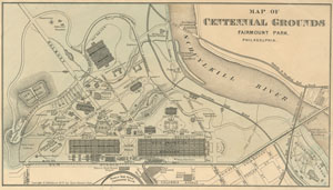 Map of Centennial Exhibition in 1876