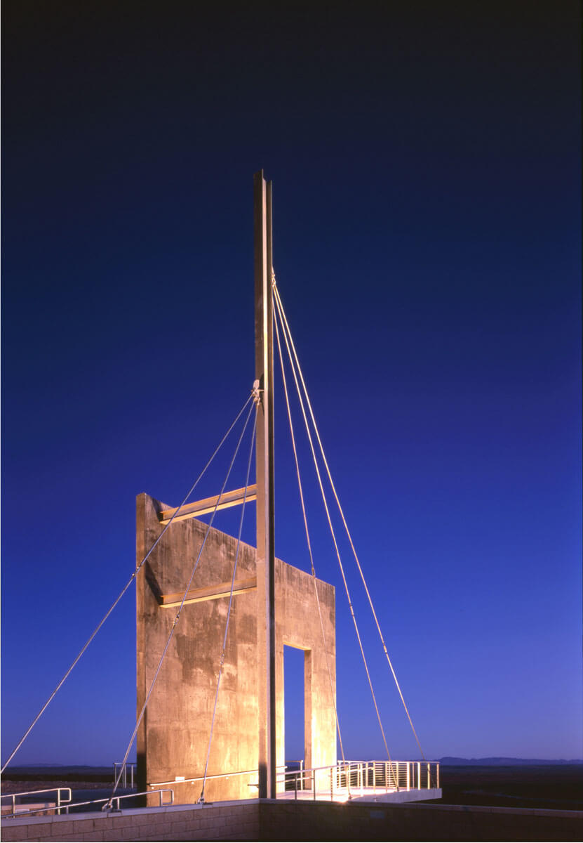The Bow Mast of the building that was purposefully designed like a ship because travelers on the trail felt like they were sailing on a ship when they walked trough the desert lands. Courtesy of Friends of the Ekl Camino Real Historic Trail