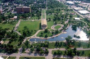 An aerial view of Centennial Park