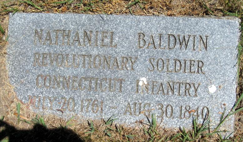 Nathaniel Baldwin gravestone, Mount Avon Cemetery, 2020