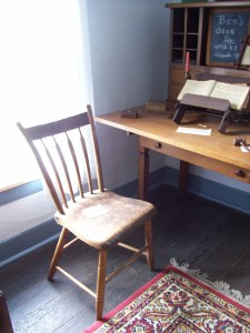 One of 12 chairs that Will made as a wedding present for Ann in 1830, together with a desk that Benjamin made circa 1850, Hanby House