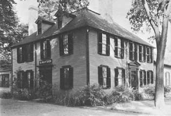 Wright's Tavern, built in 1747 at Concord, played a colorful role in events leading up to the War for Independence, and in the fighting which marked the war's first day (National Park Service)