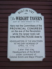 Information plaque from the front of the Tavern