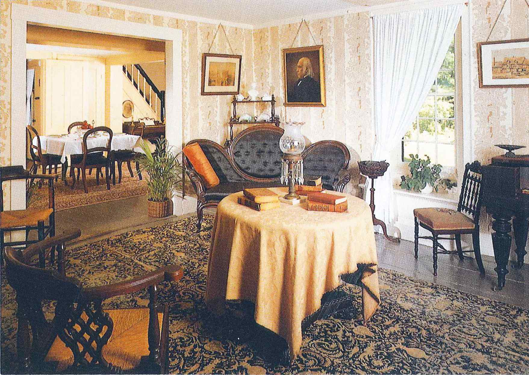 The parlor includes many original furnishings