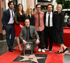 Jim Parsons and his TV cast members accepting the most recent addition to the Walk of Fame