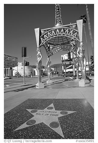 The statue of four multiethnic silver screen actresses that ends The Hollywood Walk of Fame