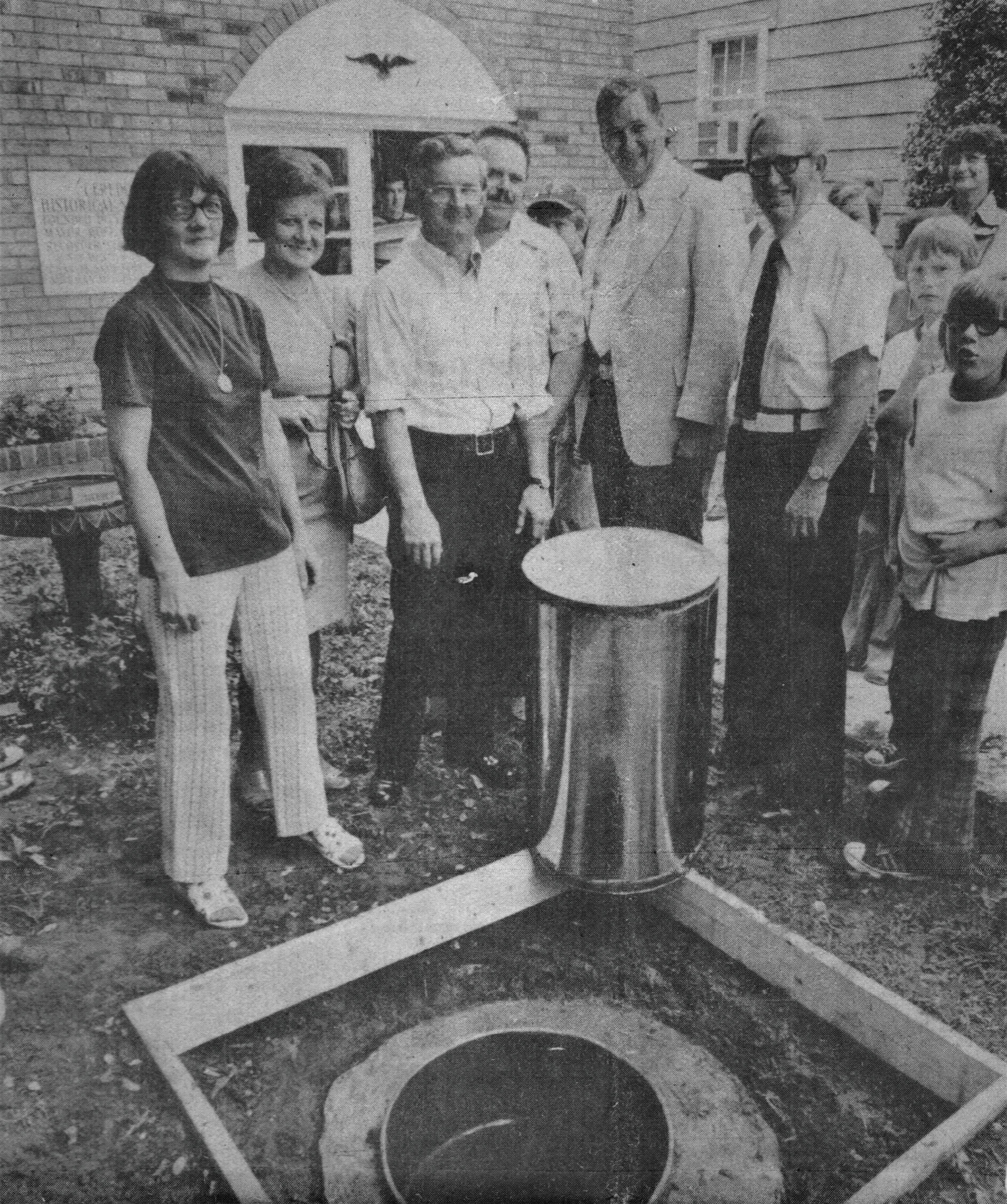A time capsule was buried in the front lawn in July 1976, and is to be opened in 2076. Courtesy of the Ceredo Museum.