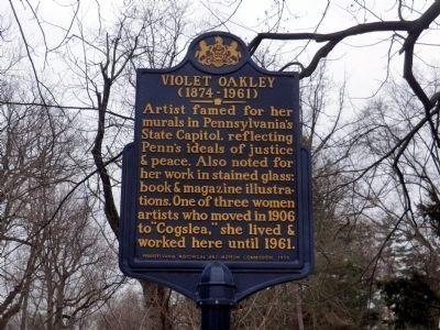Violet Oakley Historical Marker, located beside Cogsley