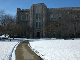 Arthur Jordan Memorial Hall in snow