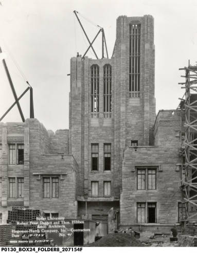 Jordan Hall during construction (W.H. Bass Photo Company Collection, Indiana Historical Society)