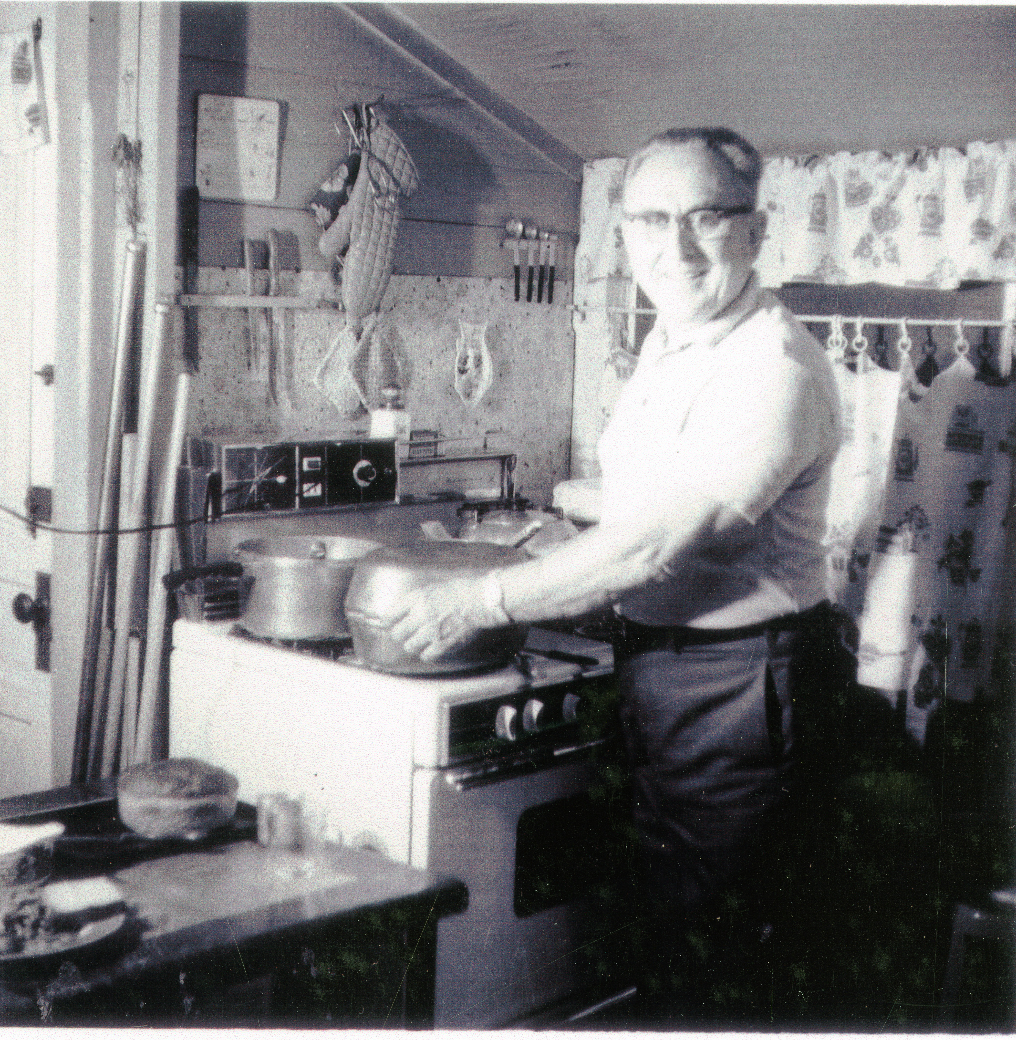 Louis Fullop in the Greenwood House kitchen, Clearwater, Florida, circa 1950.