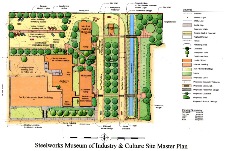 Map of the center's master plan. It includes landscaped grounds and a garden.