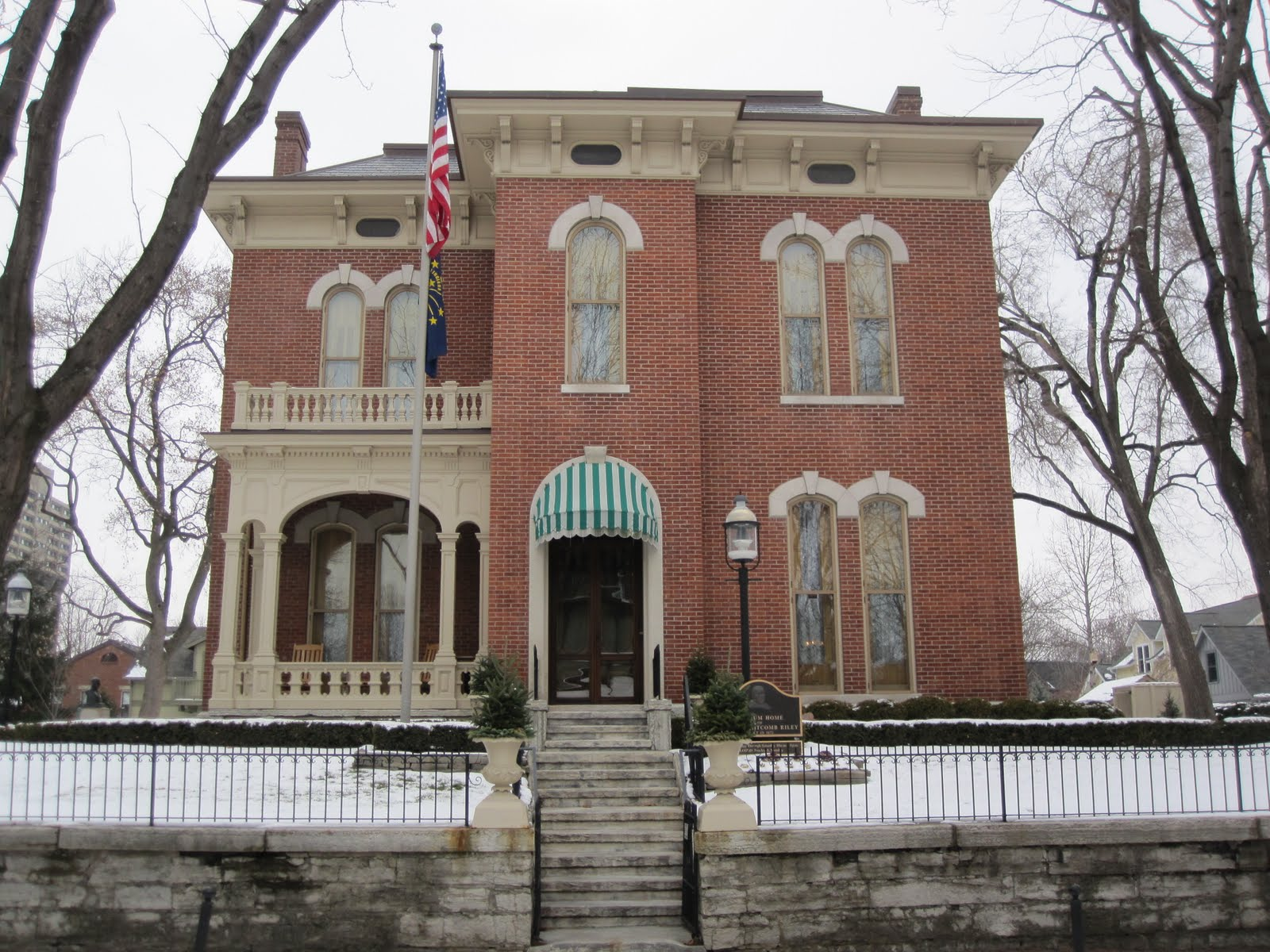 A front view of the James Whitcomb Riley Home and Museum