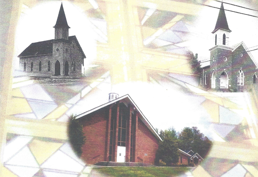 Images of the old church and the current building