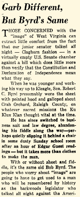 """Garb Different but Byrd the Same."" Charleston Daily Mail(Charleston), June 11, 1964."