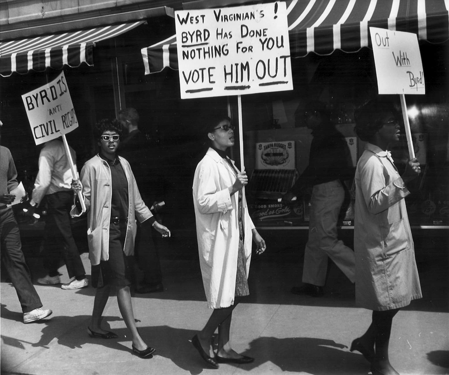 A photo of African-Americans protesting Robert C. Byrd for filibustering the Civil Rights Act bill.