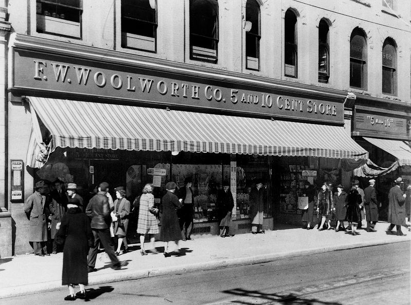 A photo of the Woolworth five and dime department store circa the mid-1940s.