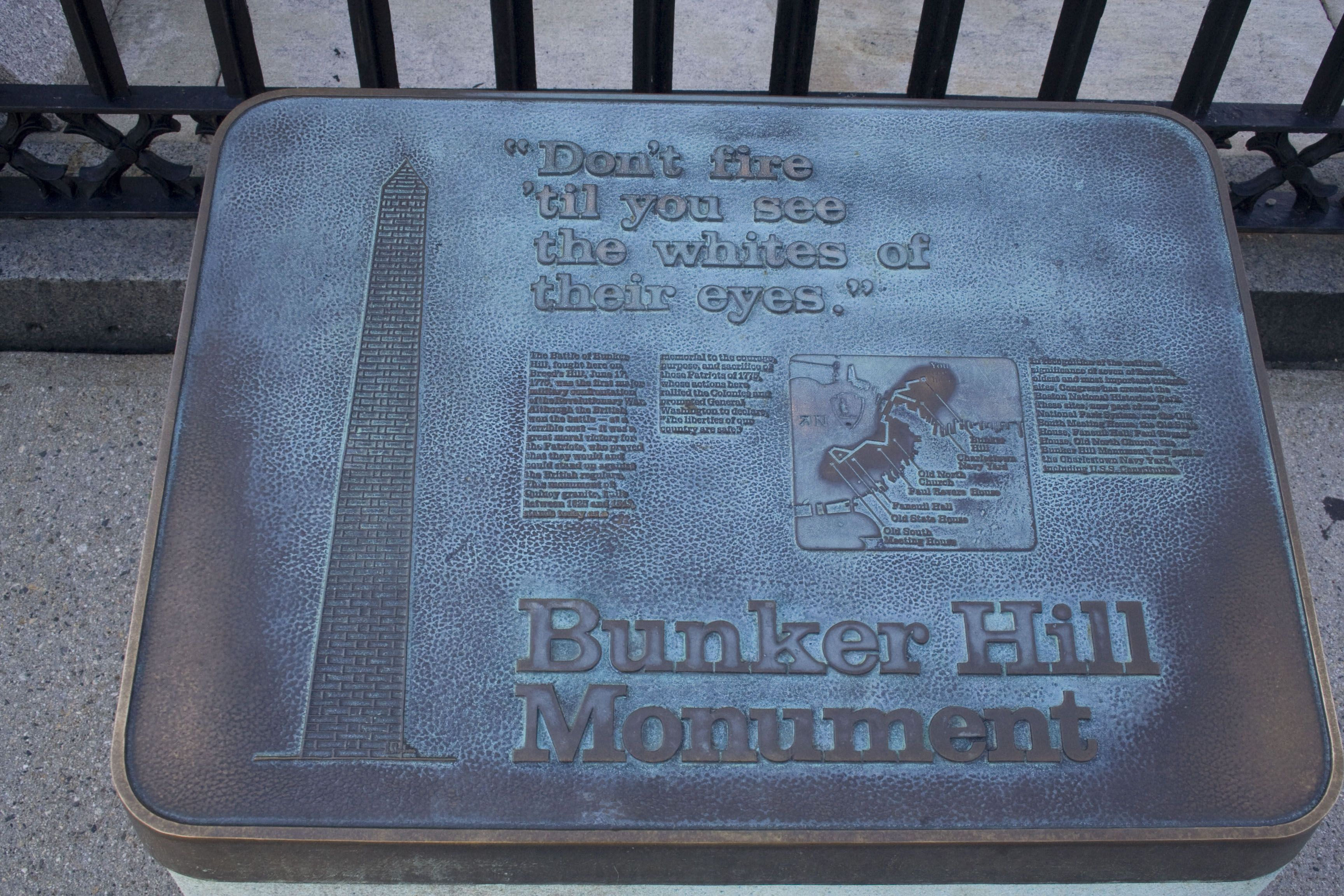 Marker at monument detailing some details of the battle of Bunker Hill.
