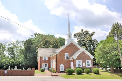 This historic church was constructed of bricks made by hand on the property.