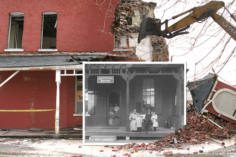 Demolition of the Alms House, February 5, 2010, with ca. 1900 photo inset