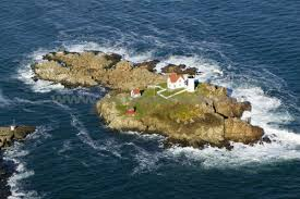 An aerial view of Nubble Light